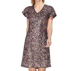 Vince Camuto Sequin Short Flutter Sleeve Dress Sz8